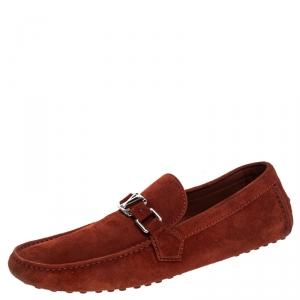 Louis Vuitton Red Suede Hockenheim Loafers Size 42.5