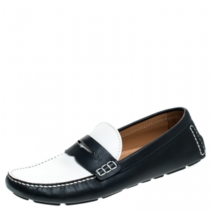 Louis Vuitton Blue/White Leather Shade Penny Loafers Size 44
