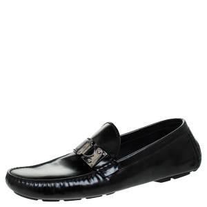 Louis Vuitton Black Leather S-Lock Driving Loafers Size 44