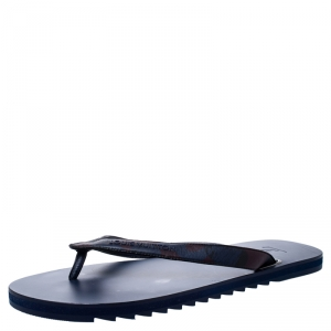 Louis Vuitton Blue Leather And Rubber Molitor Thong Flip Flops Size 42