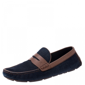 Louis Vuitton Blue Denim And Brown Leather Penny Loafers Size 43