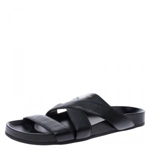 Louis Vuitton Black Leather Cross Strap Flat Slides Size 42.5