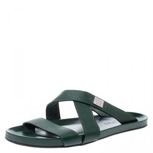 Louis Vuitton Green Epi Leather Pioneer Cross Strap Flat Slides Size 43