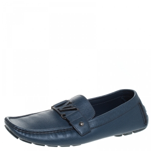 Louis Vuitton Blue Leather Monte Carlo Loafers Size 44