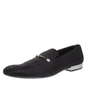 Louis Vuitton Black Satin Bank Slip On Loafers Size 43.5