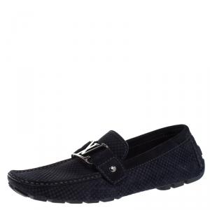Louis Vuitton Blue Petit Damier Monte Carlo Suede Loafers Size 41.5
