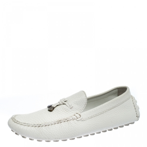 Louis Vuitton White Leather Logo Bow Loafers Size 41