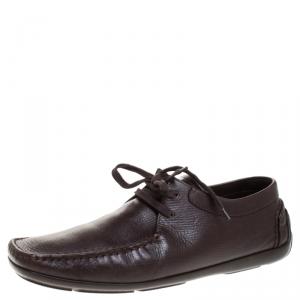 Louis Vuitton Brown Textured Leather Derby Size 44.5