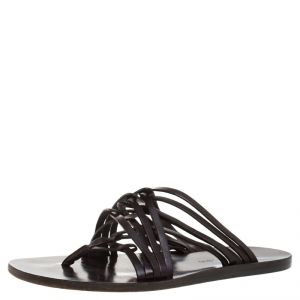 Louis Vuitton Brown Leather Thong Flat Sandals Size 41