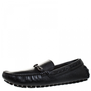 Louis Vuitton Black Leather Slip On Loafer Size 43