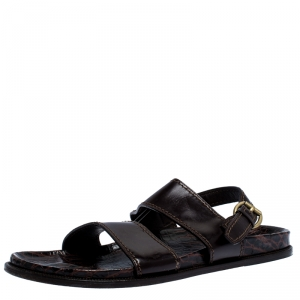 Louis Vuitton Brown Croc And Leather Flat Sandals Size 44.5