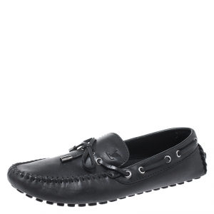 Louis Vuitton Black Leather Bow Slip On Loafers Size 42