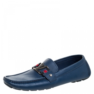 Louis Vuitton Blue Leather Monte Carlo Loafers Size 44.5