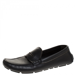 Louis Vuitton Black Leather Shade Penny Loafers Size 43