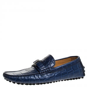 Louis Vuitton Blue Croc Embossed Leather Monte Carlo Loafers Size 41