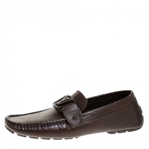 Louis Vuitton Brown Leather Logo Detail Slip On Loafers Size 40
