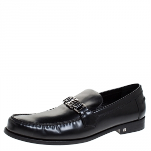 Louis Vuitton Black Leather Logo Detail Loafers Size 44