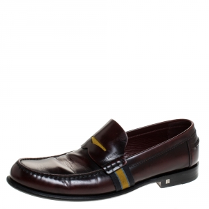 Louis Vuitton Burgundy/Black Leather Web Detail Penny Loafers Size 42.5