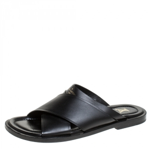 Louis Vuitton Black Crisscross Leather Slide Flats Size 42
