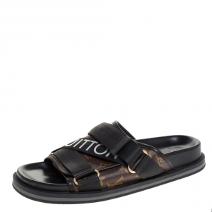 Louis Vuitton Brown/Black Monogram Canvas And Nylon Honolulu Flat Sandals Size 42.5