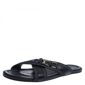 Louis Vuitton Black Leather And Denim Cross Strap Sandals Size 42.5