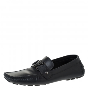 Louis Vuitton Black Leather Monte Carlo Loafers Size 43