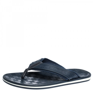 Louis Vuitton Blue Canvas and Rubber Thong Sandals Size 44