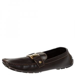 حذاء لوفرز لوي فيتون مونت كارلو جلد بنى مقاس 43.5