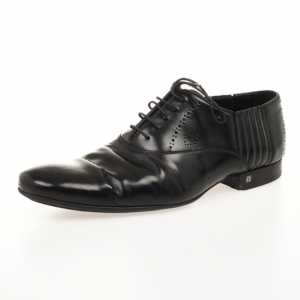 Louis Vuitton Black Glazed Leather Dress Lace Up Shoes Size 40.5