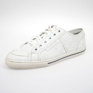 Louis Vuitton White Leather Damier Sneakers Size 43
