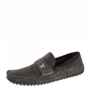 Louis Vuitton Olive Green Suede Slip On Loafers Size 41.5