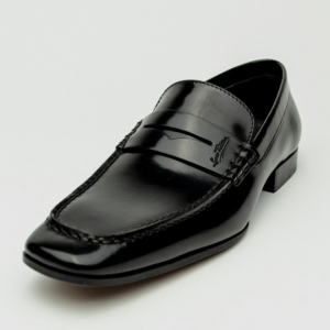 Louis Vuitton Black Glazed Leather Loafers Size 40