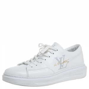 Louis Vuitton White Leather Low Top Sneakers Size 42