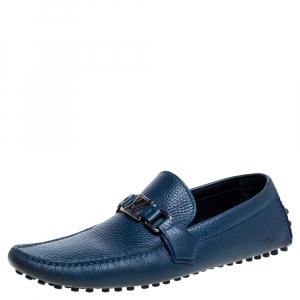 Louis Vuitton Blue Leather Hockenheim Loafers Size 42