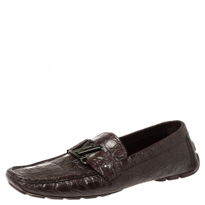 Louis Vuitton Red Crocodile Monte Carlo Loafers Size 42.5