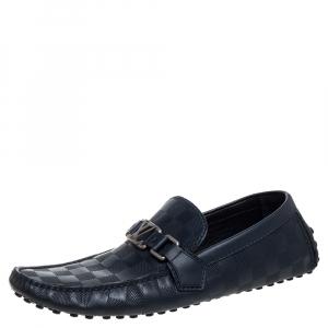 Louis Vuitton Blue Damier Infini Leather Major Logo Slip On Loafers Size 41.5