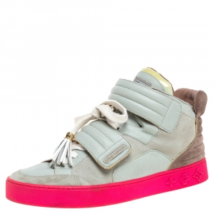 Louis Vuitton x Kanye West Multicolor Leather and Suede Jasper High Top Sneakers Size 40.5