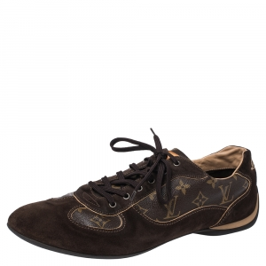 Louis Vuitton Brown Suede And Monogram Canvas Energie Sneakers Size 46