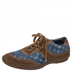 Louis Vuitton Monogram Denim And Suede Sneakers Size 41