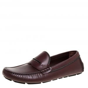 Louis Vuitton Burgundy Leather Shade Penny Loafers Size 41