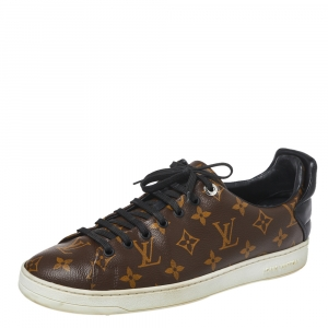 Louis Vuitton Brown Monogram Canvas and Black Leather Frontrow Low Top Sneakers Size 42.5