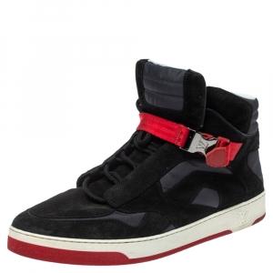 حذاء رياضى لوى فيتون مرتفع من أعلى سليبستريم قماش وسويدى أسود مقاس 44.5