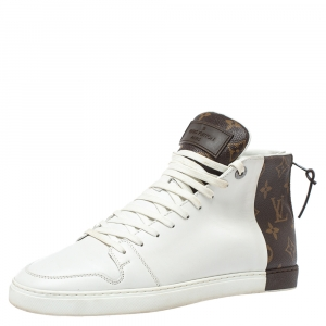 Louis Vuitton White/Brown Monogram Canvas And Leather Line Up High Top Sneakers Size 40