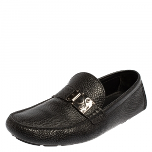 Louis Vuitton Black Leather Racetrack Slip On Loafers Size 44