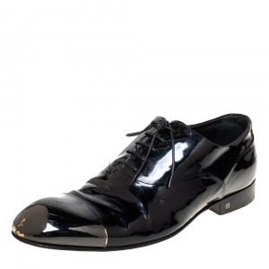 Louis Vuitton Black Patent Leather Metal Cap Toe Lace Up Oxford Size 42.5