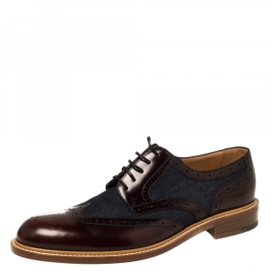 Louis Vuitton Blue/Burgundy Brogue Leather and Denim Lace Up Derby Size 46