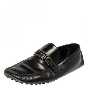 حذاء لوفرز سليب أون لوي فيتون هوكنهيم جلد أسود مقاس 43.5
