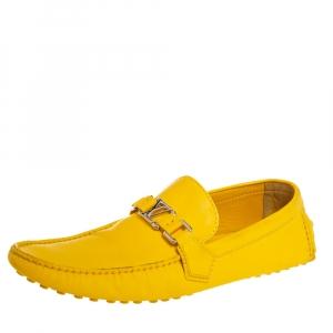 حذاء لوفرز لوي فيتون سليب أون جلد أصفر مقاس 43.5