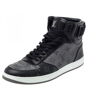 Louis Vuitton Black/Grey Monogram Canvas Rivoli High Top Sneakers Size 43