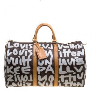 Louis Vuitton Monogram Canvas Limited Edition Graffiti Keepall 50